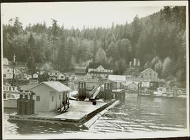 Wharf and buildings lining the shore of an unidentified fishing community