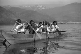 Iona Campagnolo paddling with Grizzlies canoe team near Kitimat