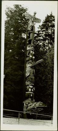 Fenced totem pole amongst the trees