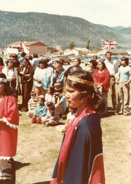 Young ceremonial dancer at opening of Haisla Recreation Centre in Kitamaat Village