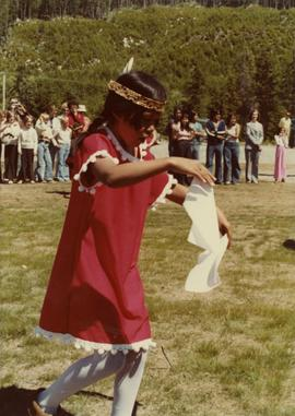 Young girl ceremonial dancer at opening of Haisla Recreation Centre in Kitamaat Village