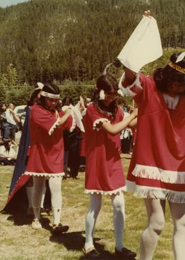 Girls dancing at opening of Haisla Recreation Centre in Kitamaat Village