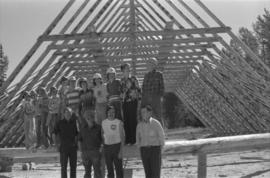 Group portrait of Iona Campagnolo with construction workers, possibly for a Young Canada Works pr...