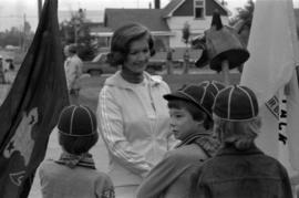 Iona Campagnolo greets Boy Scouts at the Bulkley Valley Exhibition