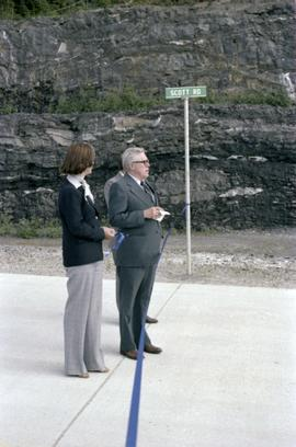 Iona Campagnolo and Joe Scott at opening ceremony for Scott Road Highway opening in Prince Rupert