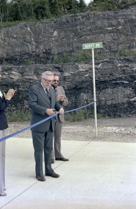 Iona Campagnolo, Joe Scott, and man at opening ceremony for Scott Road Highway opening in Prince ...