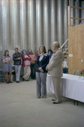 Iona Campagnolo and master of ceremonies Cliff McGinnis at opening of hanger for Queen Charlotte ...