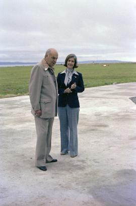 Iona Campagnolo and Cliff McGinnis on helicopter pad at opening of Queen Charlotte helicopters in...