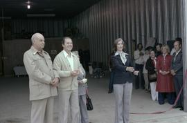 Iona Campagnolo and Cliff McGinnis with man and woman at opening ceremony for Queen Charlotte Hel...
