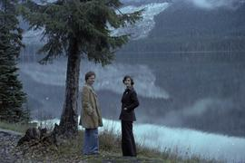 Iona Campagnolo and Peter Jones by lake on highway 37