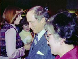 Prime Minister Pierre Trudeau with crowd at Northern BC Winter Games event in Prince George