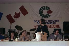 Iona Campagnolo at microphone at the kick-off for the 1979 Canada Winter Games in Brandon Manitoba