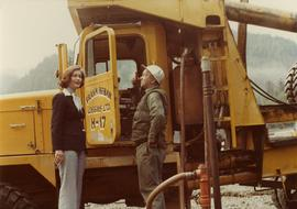 Iona Campagnolo talking with unidentified employee of Frank Beban Logging