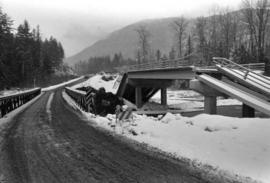 Damaged road and bridge from washout on Highway 16 between Hazelton and Terrace