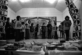 Glen Vowell First Nations children performing dances at potluck