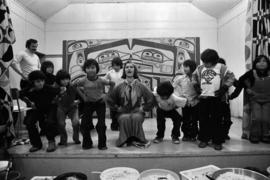 Iona Campagnolo doing aerobics with Glen Vowell First Nations children following key presentation...