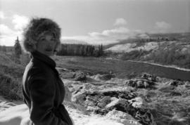 Iona Campagnolo with flooded Bulkley River by Moricetown in background