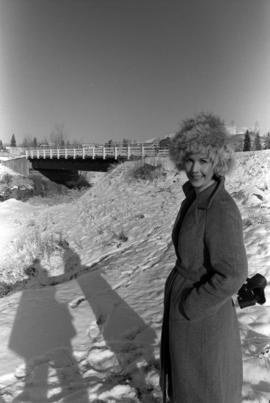 Iona Campagnolo by bridge over Bulkley River