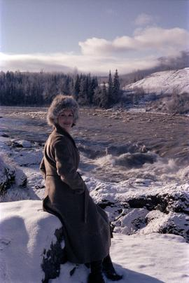 Iona Campagnolo on banks of flooded Bulkley River near Moricetown