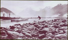 Taku River Survey - Man Hauling Canoe through Kopoka River