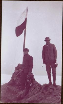Taku River Survey - Two Men at Flag
