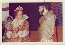 Rosemary Gilbert in Costume as Queen Elizabeth, with unidentified man