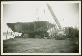 Crane at Construction of Boat Hull
