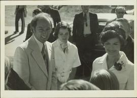Pierre Trudeau, Margaret Trudeau, and Iona Campagnolo smile at a group in front of them