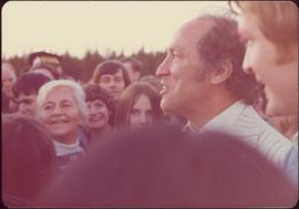 Pierre Trudeau in crowd at Terrace, BC during 1974 election campaign