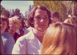 Margaret Trudeau in crowd at Terrace, BC during 1974 election campaign