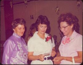 Gladys Blyth, Iona Campagnolo, and Lil Schuman at Reception for Selma Murray, sole survivor of the Mount Oldfield Slide of 1957