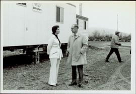 Iona Campagnolo speaking with Mr. Pickering at the sodturning ceremony for the opening of the Pri...