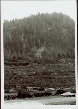 Logged and Terraced Mountainside at the sodturning ceremony for the opening of the Prince Rupert Fairview Terminal