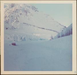 Bulldozer in Snow along Highway 16 and the Skeena, ca. 1976