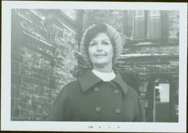 Close View of M.P. Iona Campagnolo wearing a coat and toque, standing in front of parliament buil...