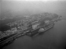 Aerial view of ship at Prince Rupert port