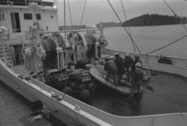 "Men on deck of fishing vessel ""Callistratus"" at Fairview Terminal in Prince Rupert"
