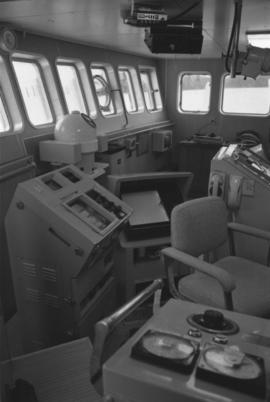"Interior view of the bridge of Fishing Vessel ""Callistratus"" at Fairview Terminal in Prince Rupert"