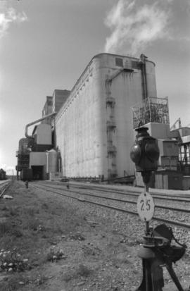 Prince Rupert grain facility and railroad tracks