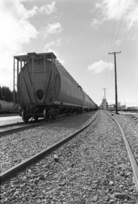 CN grain car on railroad tracks in Prince Rupert