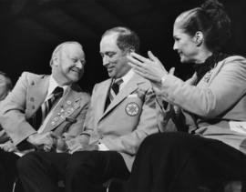 Iona Campagnolo, Pierre Trudeau, and Alex Matheson at opening of Canada Winter Games in Brandon M...