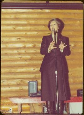 Iona Campagnolo speaks during Tour to bring television access from Yukon to Atlin, 1977
