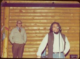 Unidentified man speaks during Tour to bring television access from Yukon to Atlin, 1977