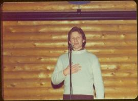 Peter Jones speaks speaks during tour to bring television access from Yukon to Atlin, 1977