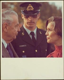 Close View of Former Prime Minister John Diefenbaker, Naval Officer Savage, and Minister Iona Cam...