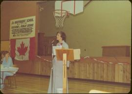 Minister Iona Campagnolo gives speech at an independent school during a fundraiser in Terrace, BC