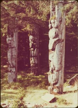 Three carved memorial poles, Ninstints, Anthony Island, Haida Gwaii, September 1977