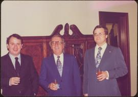 Ministry of Sport Tour - Ian Howard, Ambassador Gary Awnnos, and Eric Morse pose together, drinks in hand