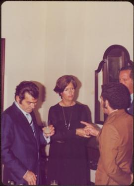 Ministry of Sport Tour - Minister Iona Campagnolo and three unidentified men stand talking