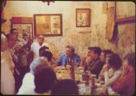 Ministry of Sport Tour - Minister Iona Campagnolo at crowded table in La Bodeguita, Havana, Cuba